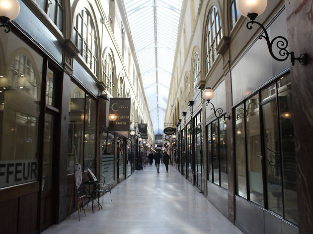 Inside the Passage Choiseul covered passage in the 2nd arrondissement of Paris
