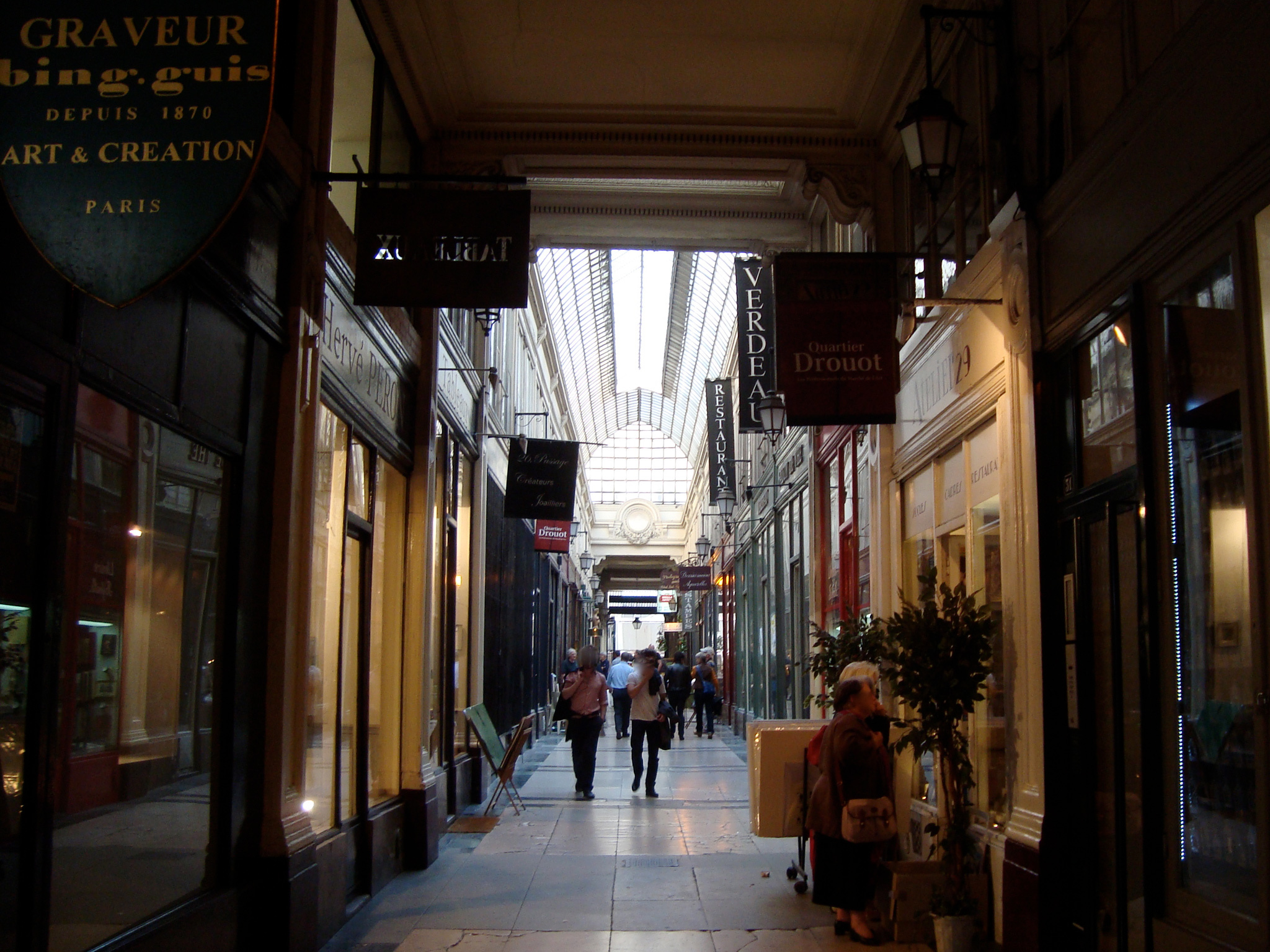 Inside the Passage Verdeau covered passage in Paris