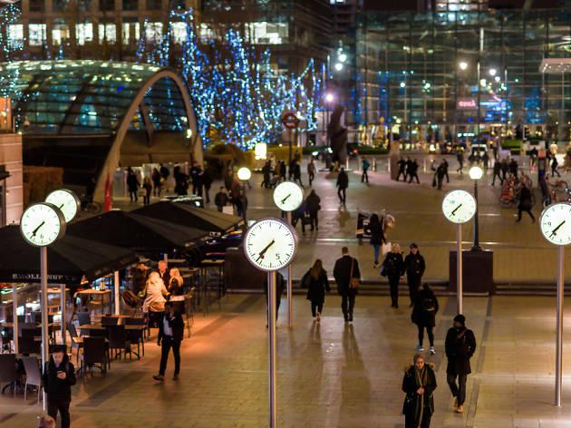 Clocks at Canary Wharf
