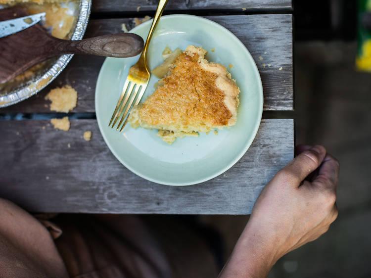 Coconut custard pie at Petee's Café