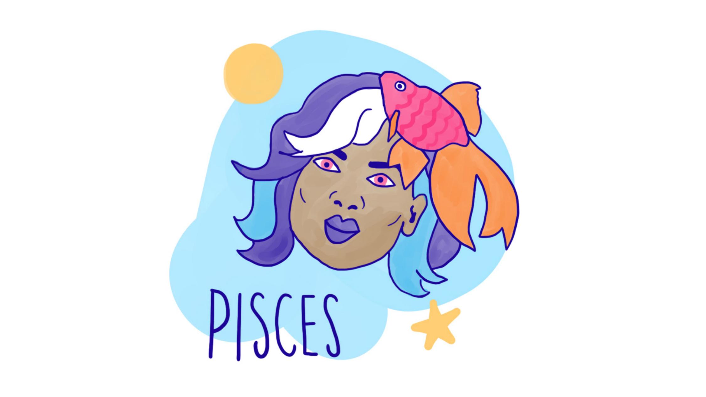 Pisces astrological illustration