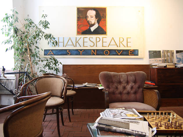A seating area in Shakespeare and Sons English language bookshop
