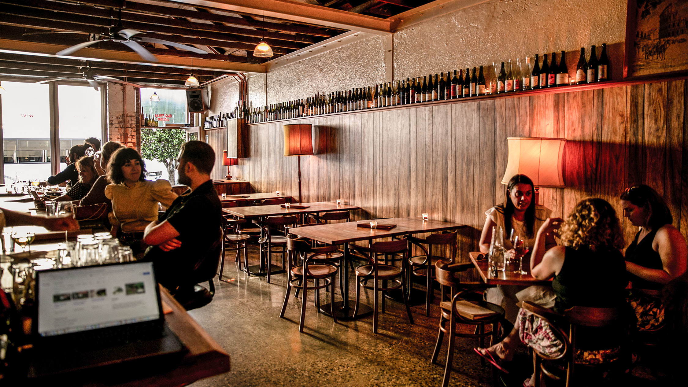 Interior front bar area at Old Palm Liqour
