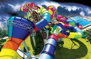 Render of a multicoloured twisty waterslide