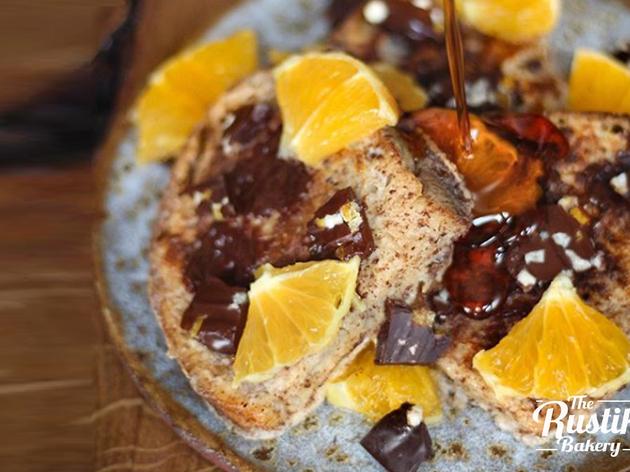 Tostas francesas con naranja y chocolate