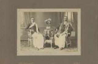 Studio portrait of two South Indian gentlemen