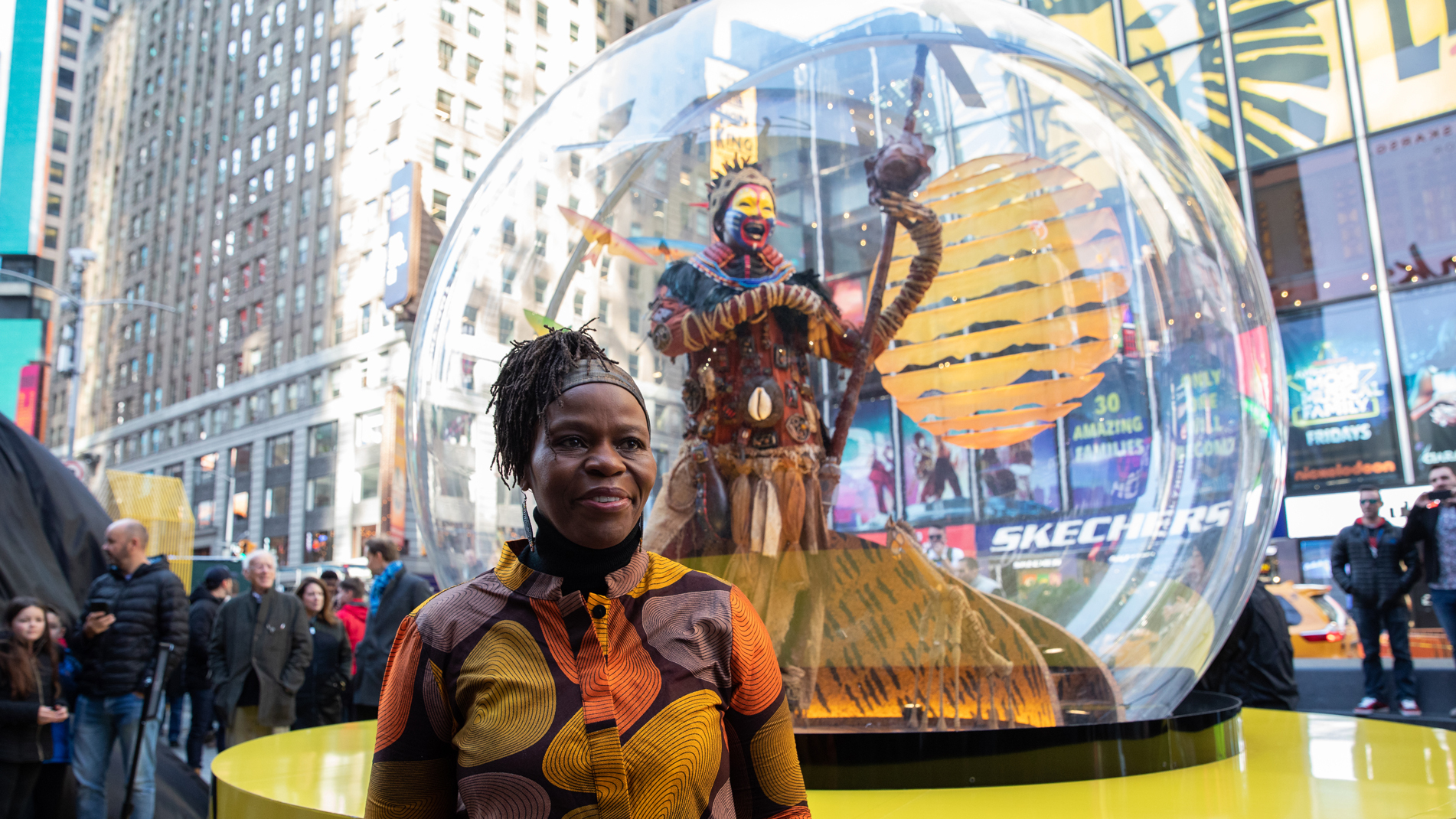 Four giant Broadway snow globes were just unveiled in Times Square