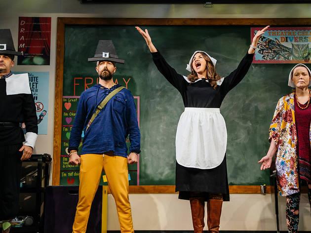 Jeff Marlow, Noah Bean, Alexandra Henrikson, and Samantha Sloyan in The Thanksgiving Play at Geffen Playhouse