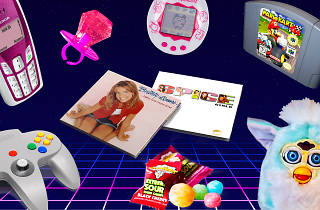 Furbies, ring-pops, Britney Spears CDs and other 1990s items.