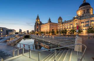 Liverpool harbourside in twilight