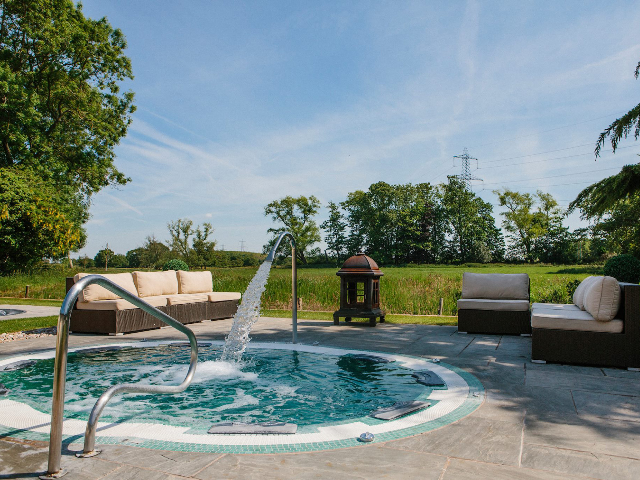 An outdoor hot tub at Thornton Hall near Liverpool