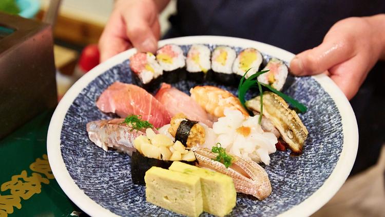 Sushitatsu, a variety of sushi on a plate