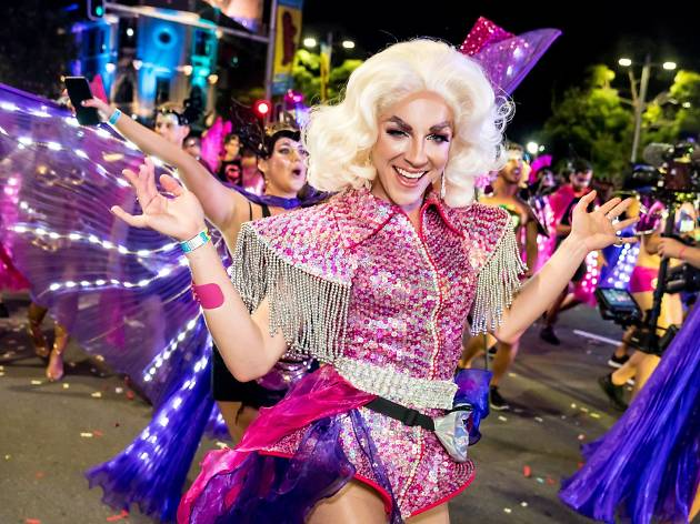A drag queen marches in the Sydney Mardi Gras Parade.