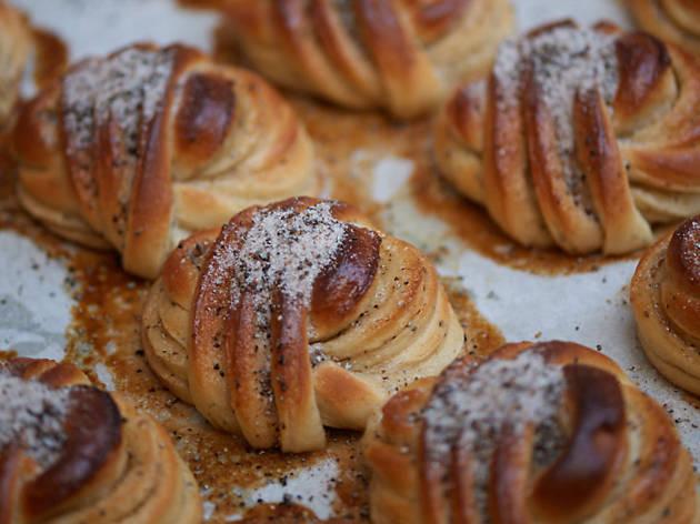 Buns at Juno bakery in Osterbro in Copenhagen