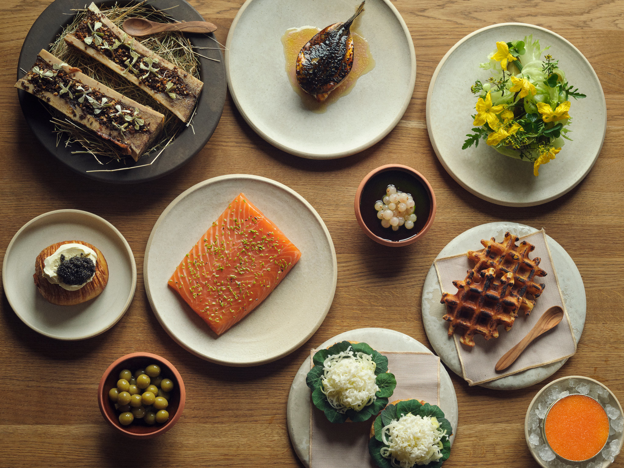 An array of dishes at Barr in Copenhagen
