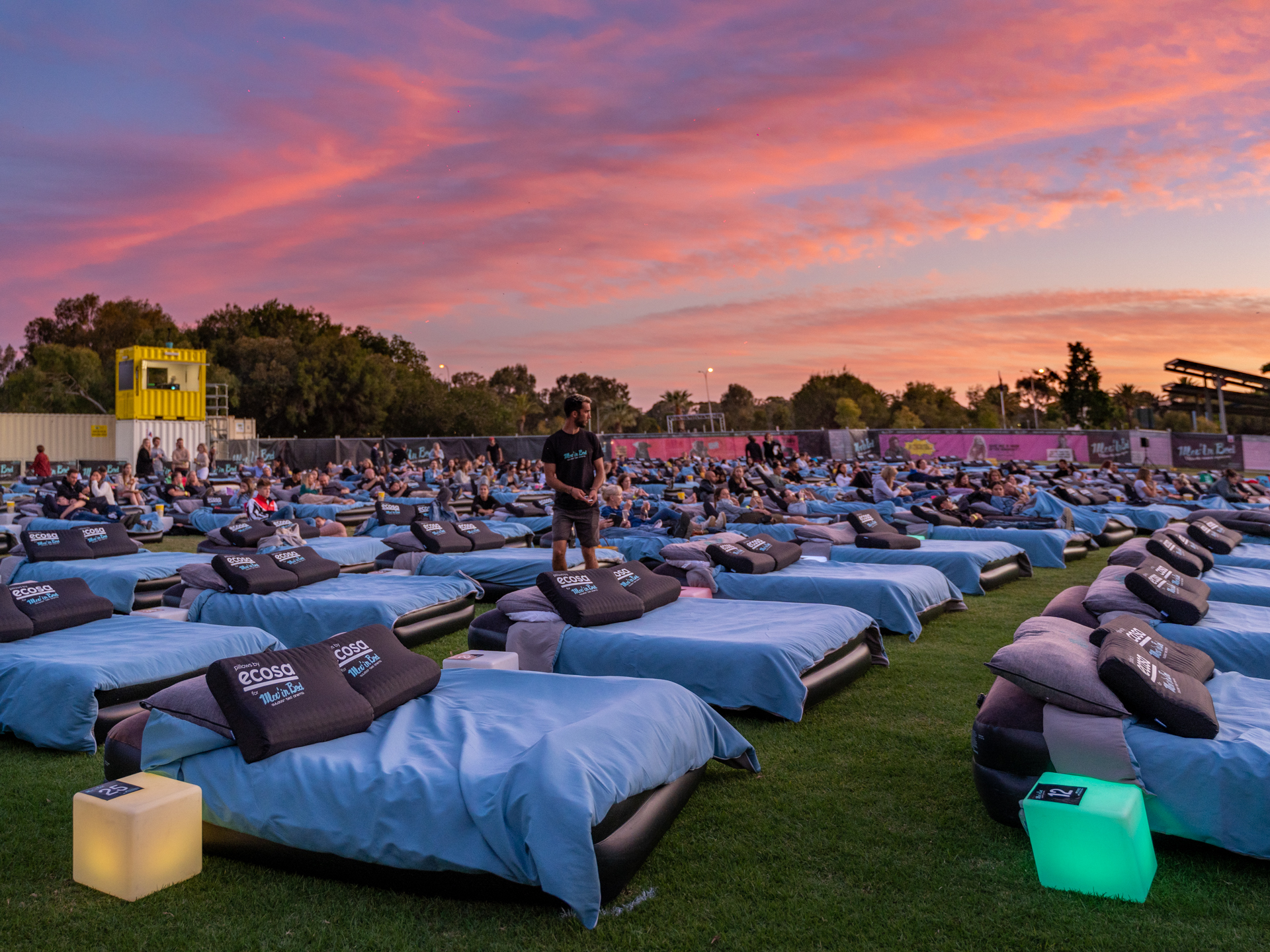 Sunset over bed outdoor cinema