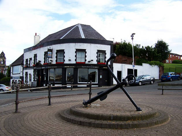 The exterior of the Egremont Ferry (with anchor)