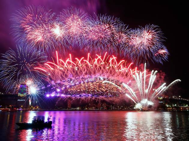 The view of the New Year's Eve fireworks from the Sydney Opera House