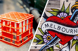 Milk crate ant Melbourne graffiti