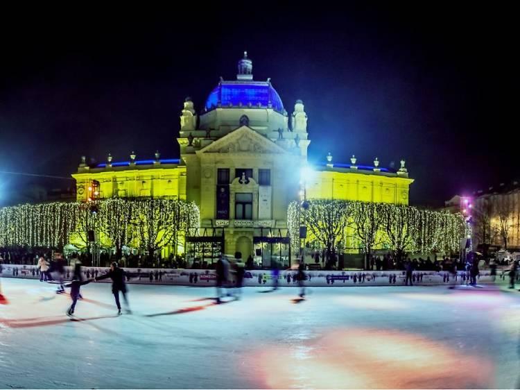 Ice skating rink at King Tomislav Square