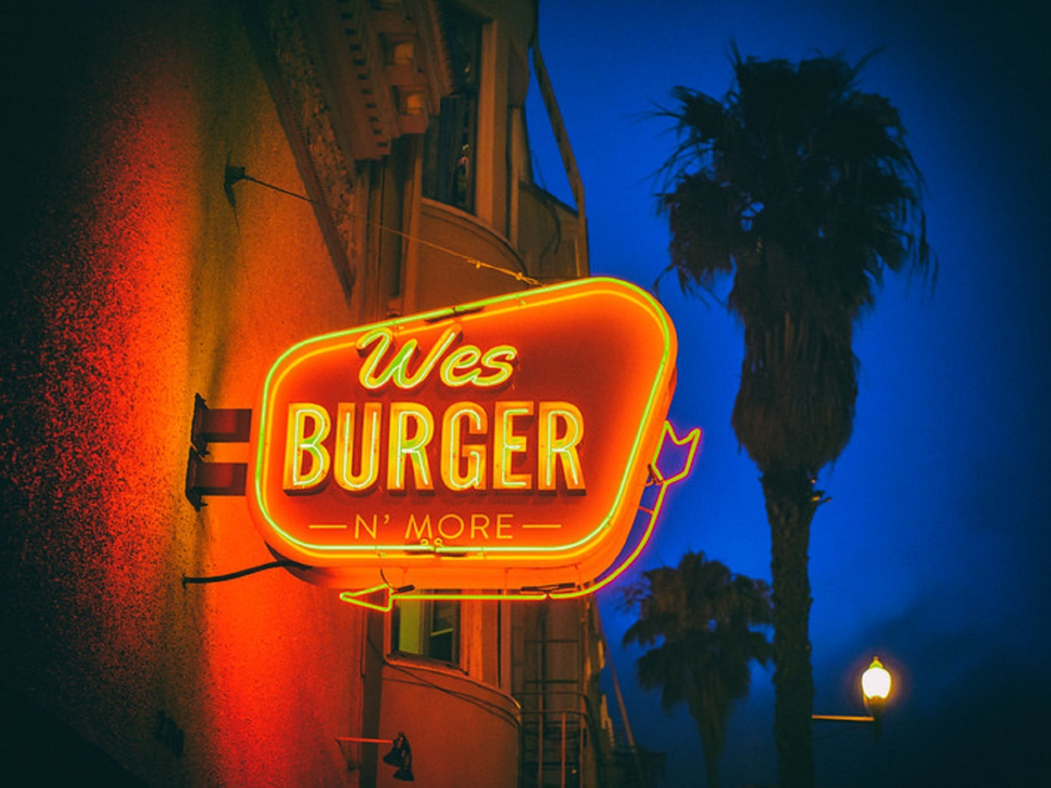 Wes Burger neon sign