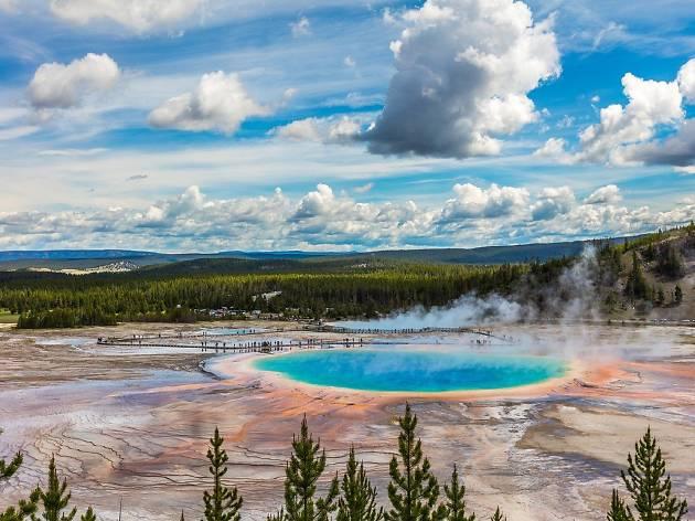 A bright blue hot spring at Yellowstone