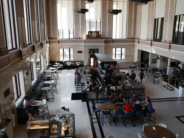 The interior food hall of a former bank