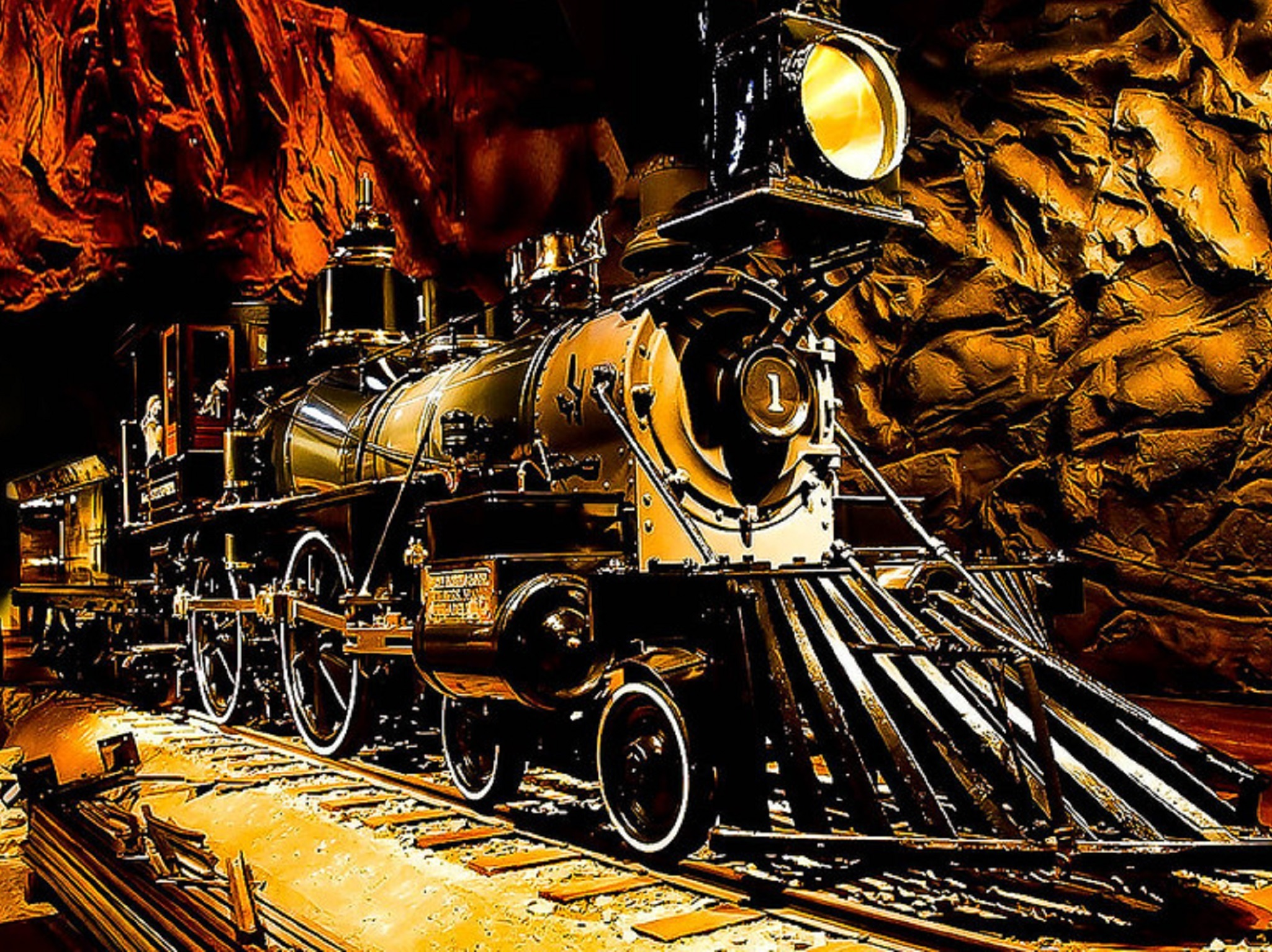 The steam engine of a vintage train