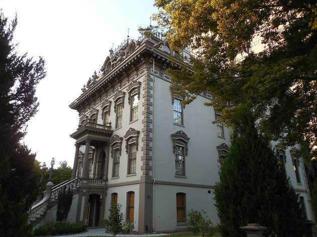 An ornate white 19th century mansion