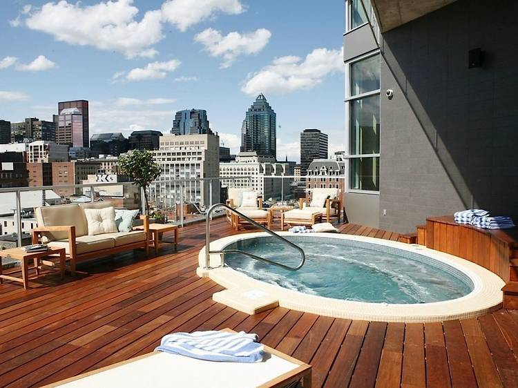 Enjoy skyline views from a rooftop hot tub