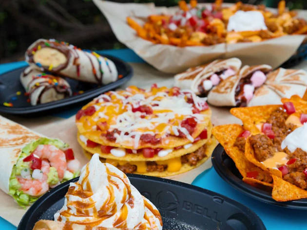 A selection of items from the Taco Bell menu
