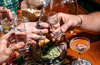 Hands clinking shots of tequila