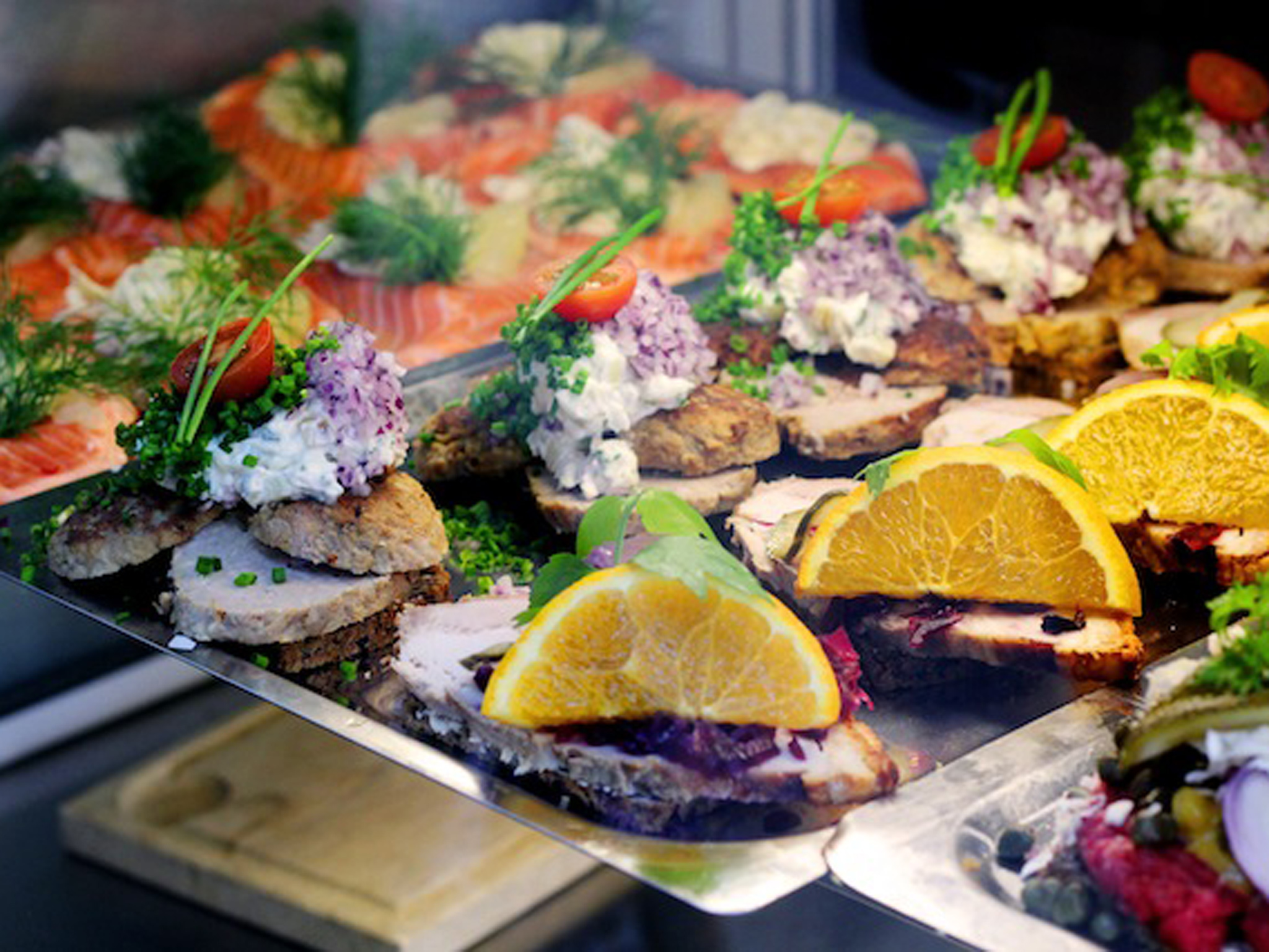 An array of smørrebrød at Torvehallerne in Copenhagen