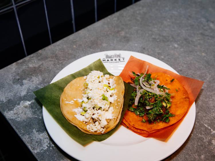 Chicken verde tacos at Dos Urban Cantina