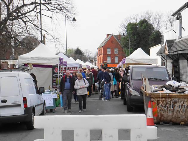 Stalls at Lark Lane farmers' market