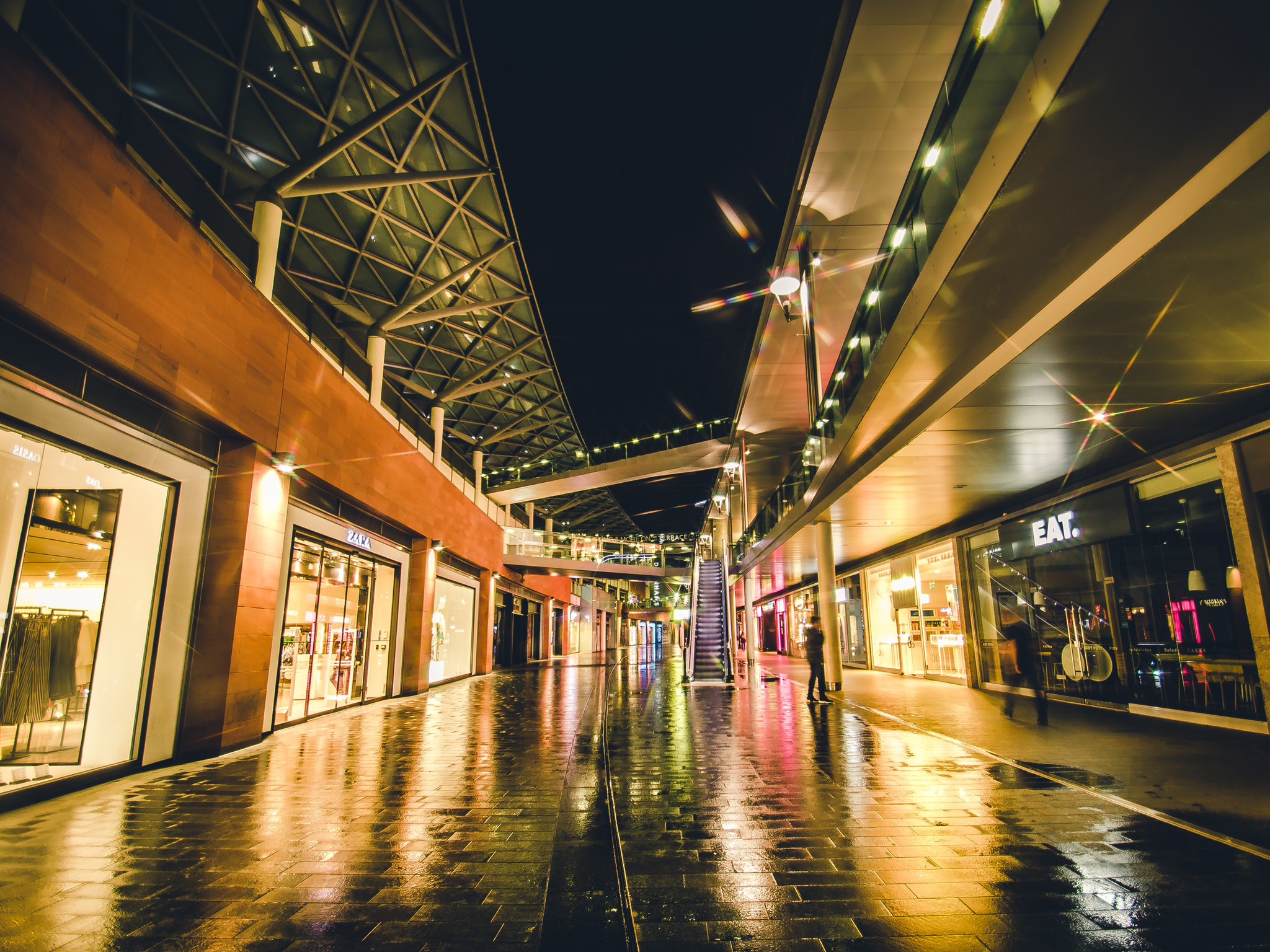 Liverpool ONE shopping centre at night