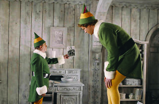 "Bob Newhart (left) as ""Papa Elf"" and Will Ferrell (right) as ""Buddy"" in Elf."