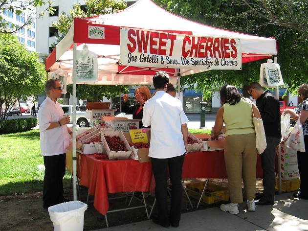 The sweet cherries stall at the farmers market
