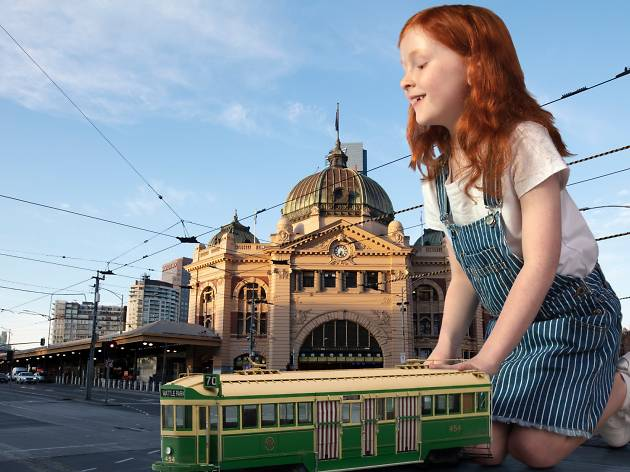 Mini Mega Model Museum child playing with a tram