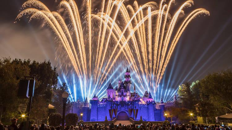 Holiday fireworks at Disneyland