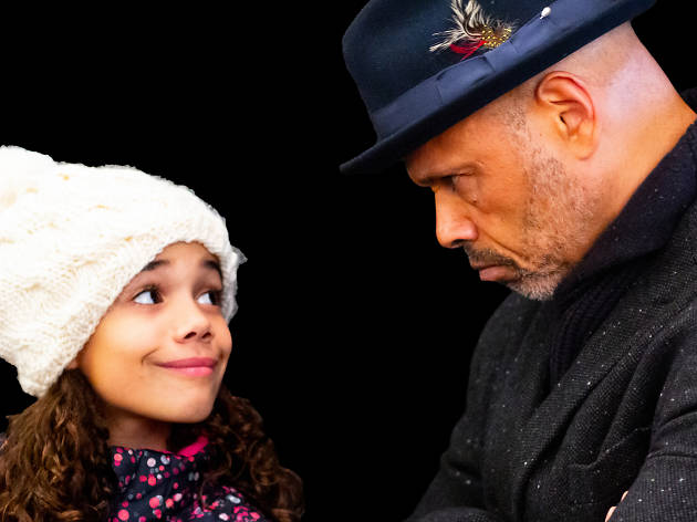crop Emery Mason as Tiny Timothia and Charles Bernard Murray as Scrooge in A Christmas Carol in Harlem