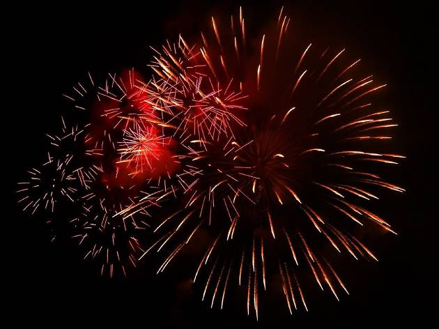 Fireworks in a red starburst