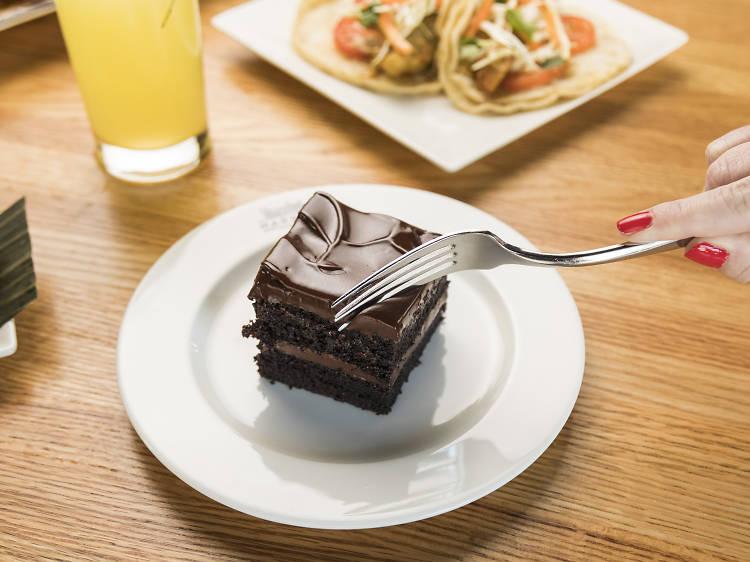 Chocolate cake at Dos Urban Cantina