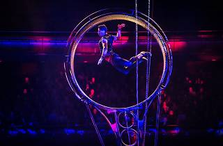 An aerial performer leaps through the air in a spinning wheel contraption.