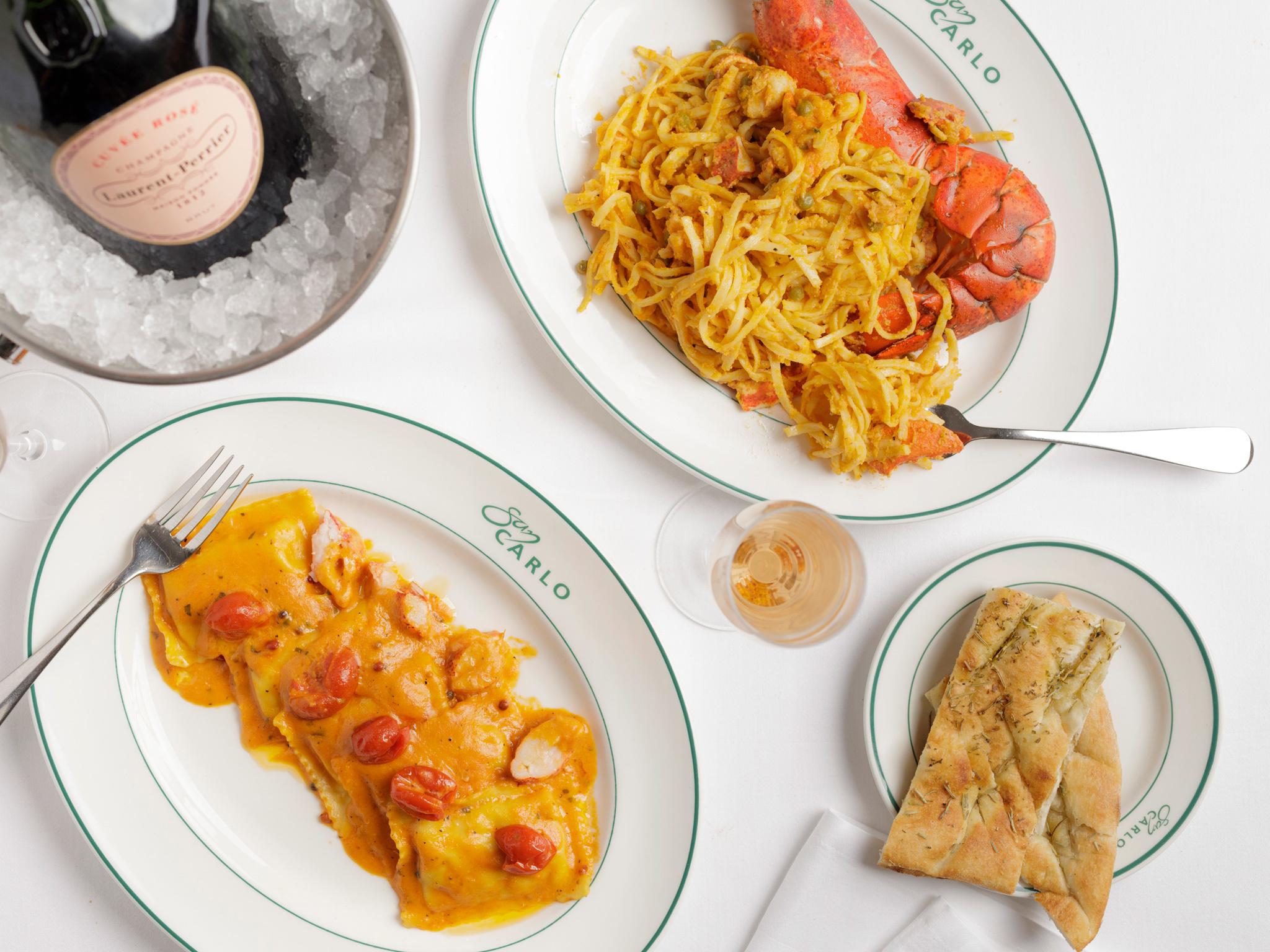 Lobster ravioli at San Carlo in Liverpool