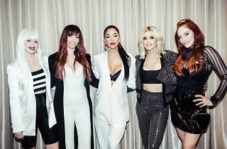 The Pussycat Dolls standing for media shot for So Pop music festival.