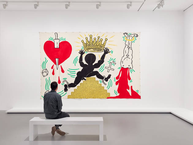 Installation view of Keith Haring | Jean-Michel Basquiat: Crossi
