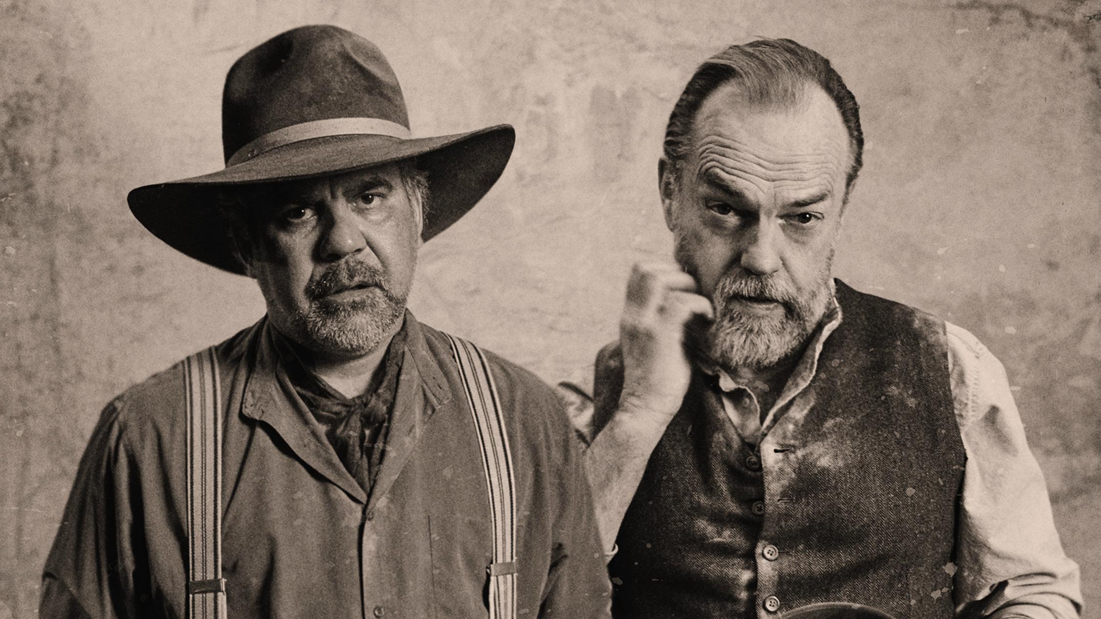Wayne Blair and Hugo Weaving in costume in Angus Cerini's Wonnangatta