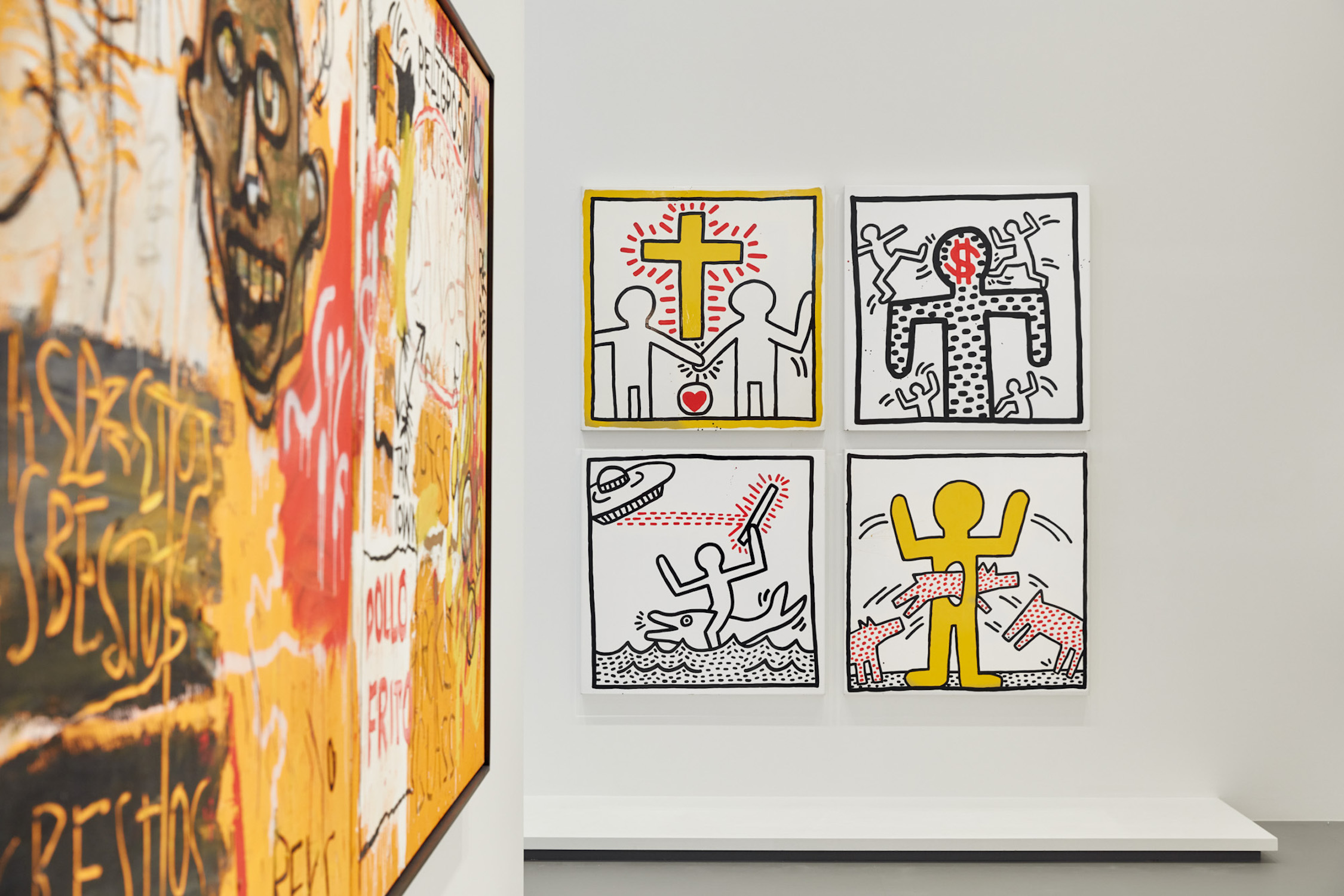 Installation view of Keith Haring | Jean-Michel Basquiat: Crossing Lines at NGV International, 1 December 219 – 11 April 2020 © Estate of Jean-Michel Basquiat. Licensed by Artestar, New York © Keith Haring Foundation