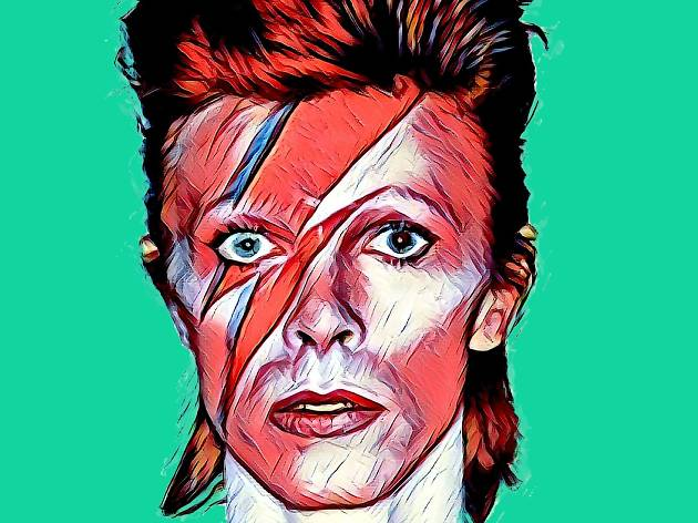 Artwork depicting David Bowie wearing iconic Ziggy Stardust lighting bolt makeup.